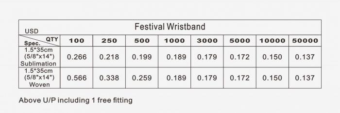 Pricelist of Fabric Wristband V1