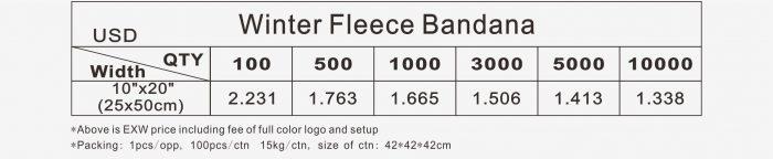 Pricelist of winter bandana