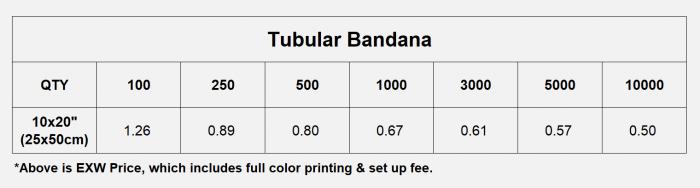 Pricelist of tubular bandana